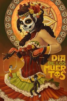 New Orleans, Louisiana - Dia De Los Muertos Marionettes - Day of the Dead - Lantern Press Artwork Giclee Art Print, Gallery Framed, Espresso Wood), Multi Los Muertos Tattoo, Catrina Tattoo, Fantasy Anime, Day Of The Dead Art, Art Et Illustration, Mexican Art, Skull Art, Oeuvre D'art, Travel Posters