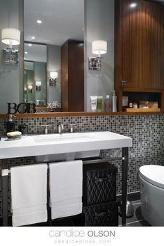 Mosaic Tile Backspash placement • Wood Bathroom Storage Cabinets • Sconce Light Placement in the bathroom • #candiceolson #candiceolsondesign Bathroom Sink Design, Wood Bathroom, Bathroom Storage, Bathroom Ideas, Candice Olson, Porcelain Sink, Sconce Lighting, Bath Decor, Mosaic Tiles