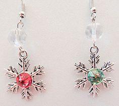 0962 - Snowflake earrings, snowflake jewelry, Christmas earrings, Christmas jewelry, pink crystal, green crystal, clear crystals, dangle by EarringsBraceletsEtc on Etsy