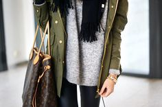 olive + grey+ leather pants=favorite combo palette