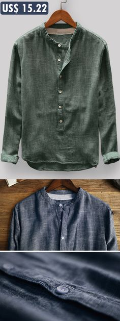 563acc23d12 Mens Vintage Solid Color Stand Collar Long Sleeve Loose Casual T shirt