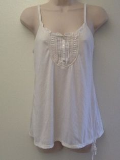 American Eagle White Camisole Tank Top Blouse Henley Buttons Lace Medium
