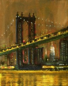 Brooklyn Bridge, New York City 10 8 in. Oil on stretched canvas, painting by artist Hall Groat II