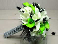 lime green white calla lily with black feathers faux rhinestone bridal bouquet by gardensidestudio, via Flickr
