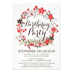 Red Spring Floral Wreath Birthday Invitation