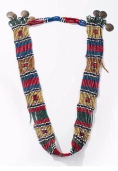 Nagaland | Old necklace made from glass beads, natural fiber and metal pendants | Est. 400 - 600€ ~ (Feb '14)
