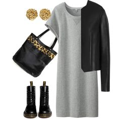 Spring black tote by borsebyd on Polyvore featuring moda, Uniqlo, Mulberry, Dr. Martens, Versus, black, tote and BorsebyD