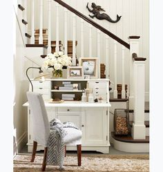 I need something small like this in our front room to organize craft supplies/bills/kid stuff Our First Room Redo | The Lettered Cottage