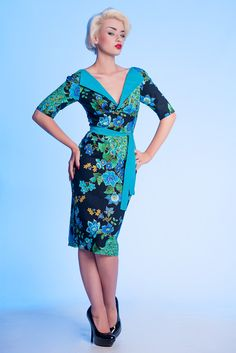 Vanity Project Limb Vintage 50's Peacock Wiggle Dress
