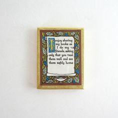 Vintage Antioch Bookplates Sealed Box - Owen Wise Grapevine Art Nouveau Decor - Typography Art - Paper Ephemera - Back to School Book Labels