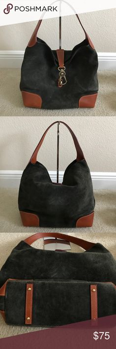 """Dooney & Bourke Suede Hobo Preown selling """"as is"""" color charcoal. No accessories. Has some scratches and scuff marks front and back of purse.bottom corners has signs of wears and scratches as shown in picture. Approximate measurements: Hobo 17""""W x 12""""H x 5""""D with an 11"""" strap drop; weighs approximately 2 lbsBody/trim 100% leather; lining 100% cotton Dooney & Bourke Bags Hobos"""