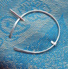 3 INCH Sterling Silver Shawl Pin Penannular Brooch, Fibula, Scarf Pin, Kilt Pin, Clasp