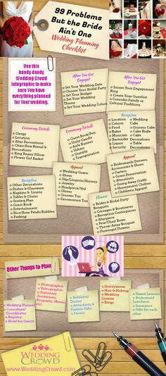 99 Problems But the Bride Aint One, Wedding Planning Checklist Infographic