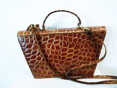 SALE Vintage 1960s Bag Crocodile Leather by KMalinkaVintage, $175.00
