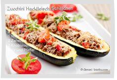 Leckeres Zucchini Hackfleisch Schiffchen Rezept mit einfacher Schritt-für-Schritt-Anleitung: Zucchini längs halbieren und mit einem Löffel aushöhlen ,...