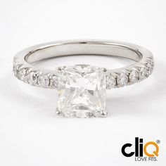 platinum cushion cut solitaire engagement ring #beplatinum #frenchpave