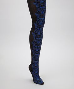 Take a look at this Black & Blue Lotus Tights by Anna Sui on #zulily today!