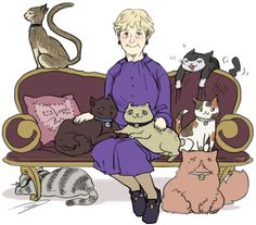 Mrs. Hudson's Cats by Reapersun featuring Irene, Lestrade, Sherlock, John, Moriarty, Molly, and Mycroft