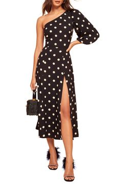Reformation For The Real Life Dresses Of Your Dreams! - We Select Dresses Black Polka Dot Dress, Polka Dots, Designer Party Dresses, Lace Mermaid Wedding Dress, Dress Out, Gowns With Sleeves, Crepe Dress, Reformation, Fit Flare Dress