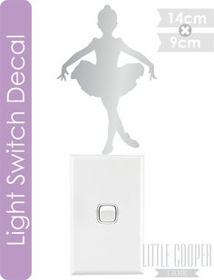 Ballerina Light Switch Decal. Removable Vinyl Wall Decal.