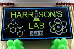 Science Themed Bar Mitzvah Backdrop - Custom Party Backdrops & Murals