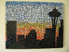 Seattle Skyline Mosaic by piecedtogethermosaic on Etsy