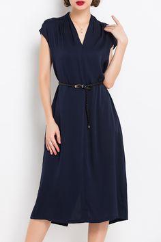 Back Slit V Neck Belted Dress