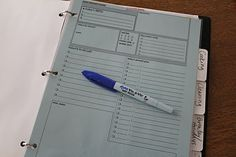 Household Notebook with links to organizational printables