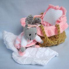 Baby Bunny in basket crib knitting pattern INSTANT by dollytime Knitting Dolls Free Patterns, Knitted Dolls Free, Knitted Bunnies, Knitted Animals, Baby Bunnies, Knit Patterns, Crochet Yarn, Knitting Yarn, Crochet Toys