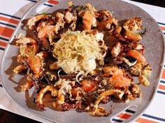 Tandoori Style Octopus with Fennel Slaw : Recipes : Cooking Channel Calamari Recipes, Seafood Recipes, Seafood Dishes, Slaw Recipes, Cabbage Recipes, Healthy Recipes, Tandoori Marinade, Octopus Recipes, Kitchens