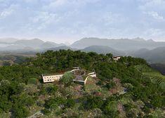 Tianjiashan paviljoen en hotelservice centrum Liyang, China | Achterbosch Architecten Mata Hari, Hotel Services, Under Construction, Restaurant, China, Mountains, Travel, Porches, Viajes