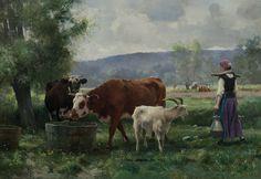 La jeune laitiere avec son troupeau