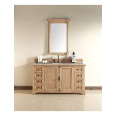 Providence 60 Natural Oak Single Vanity with Stone Top