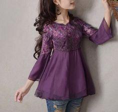 Purple chiffon lace blouse vintage lace shirt by happyfamilyjudy, $84.99