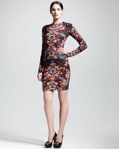 Alexander mcqueen Longsleeve Stained Glass Jersey Dress in ...