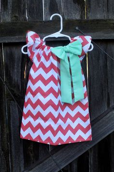 Coral Chevron Mint Bow Peasant Dress  Baby by MooseBabyCreations, $27.50