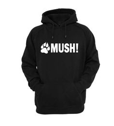 Black Mush Hoodie Hoody Novelty Gift Item Jumper Husky Dog Sled Sledge Racing