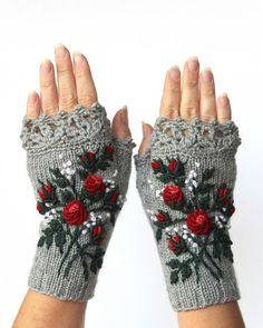 Gray And Red Gloves With Roses Knitted Fingerless Gloves Red Roses Gloves & Mittens Embroidery Gift Ideas For Her Grey Mittens Mitts Fingerless Gloves Knitted, Crochet Gloves, Crochet Lace, Knit Mittens, Knitting Accessories, Winter Accessories, Handmade Accessories, Red Gloves