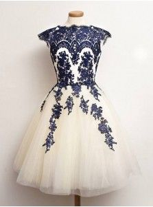 Vintage Scalloped-Edge Cap Sleeves Blue Prom Cocktail Party Dress With Appliques