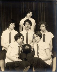 Six women members of team sponsored by Wheeler Kelly Hagny Trust Company in a women's bowling league. This photograph appeared in either an Eagle or Beacon article noting that all the team members had never bowled before joining that year's competition. They came from last place to tie for second (1929).