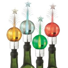 Four Assorted Lighted Plaid Ball Bottle Stoppers with Fiber Optic Stars, Batteries Included, by Midwest-CBK 021620 Fiber Optic Christmas Tree, Shimmer Lights, Bottle Stoppers, Plaid, Ornament, Gifts, Stars, Ebay, Ideas