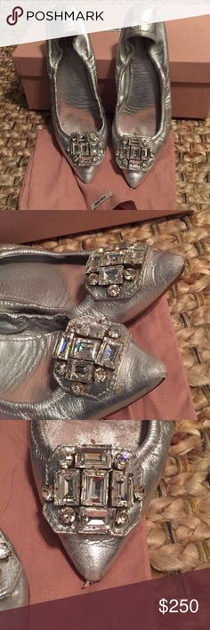 Miu Miu silver flats with jewels Cinderella has nothing on these!  Amazing shoes from the masters in Italy. A little scuffed on the tip top of shoe but not noticeable when wearing. Size 37 Miu Miu Shoes Flats & Loafers