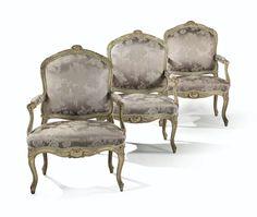 Suite de six fauteuils à dossier plat en hêtre sculpté relaqué gris d'époque Louis XV, estampillée<em> I. GOURDIN</em> | Lot | Sotheby's
