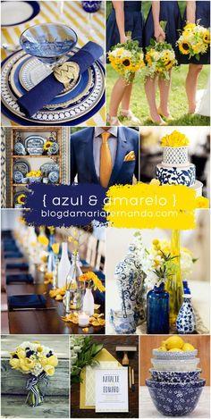Inspiration Board - Wedding - Blue and Yellow  Decoração de Casamento Azul e Amarelo  http://blogdamariafernanda.com:
