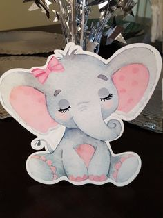 baby Elephant cutout for baby shower, Elephant baby Shower girl, Pink Elephant baby shower, it'a a girl party - Cupcake Baby Shower Ideen Elephant Baby Shower Girl, Elephant Baby Shower Cake, Baby Shower Niño, Baby Girl Shower Themes, Girl Baby Shower Decorations, Baby Shower Centerpieces, Pink Elephant, Elephant Theme, Imprimibles Baby Shower