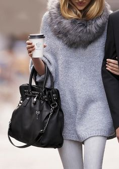 oversized sweater and scarf.