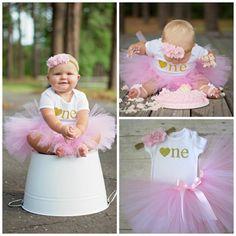 Pink and Gold Tutu...First Birthday Girl...Birthday Tutu...Baby Girl 1st Birthday Girl Outfit...Tutu and Headband Set...Gold Glitter One