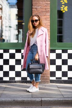 Style Diary by Samantha Maria / Beauty Crush Blogger - This pink coat from ASOS is gorgeous and perfect for winter when paired with ripped boyfriend jeans, white new balance trainers, a basic white Topshop tee and a black leather bag. It would look great with skinny jeans and pointy heels too. There's also some serious hair inspiration going on here!