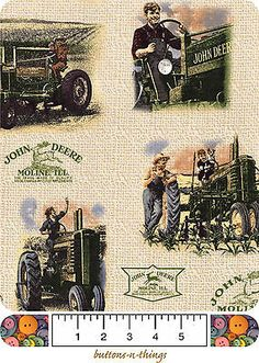 JOHN DEERE Vintage Scenic and Logos Cotton Fabric  U Choose $7.95