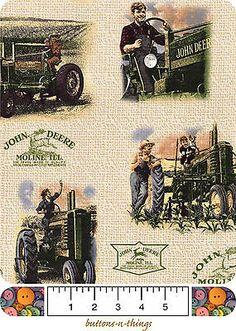 JOHN DEERE Vintage Scenic and Logos Cotton Fabric  U Choose $7.95